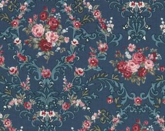 HALF YARD Lecien - Kayo Enza - Rose Life Garden 2017 - Rose and Scrolls on Dark Teal 31520-70 - Floral, Flower, Bouquet - Japanese Import