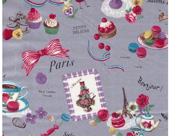 HALF YARD Yuwa - Sweets Rondeaux - Paris Map of Sweets on Grey - Macaron, Tea, Pastry, Eiffel Tower, Paris, Chocolate  - Japanese Imported