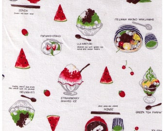 HALF YARD Lecien - Food Land - Japanese Desserts and Confections on WHITE - 40906-10 - Cotton/Linen Blend - Green Tea, Watermelon, Cream