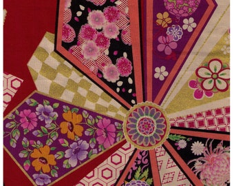 HALF YARD Yuwa - Fans  on RED 82971-B - Traditional Japanese Geometric - Yukata - Sakura, Cherry Blossom, Chrysanthemum Flowers