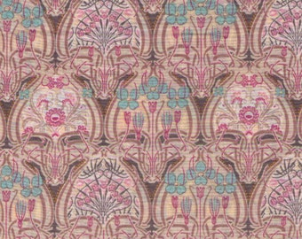 HALF YARD Yuwa - Pink, Cream and Aqua Small Interlocking Floral Medallion - 319684 A LAWN Art Nouveau Flower - Live Life Collection Japanese