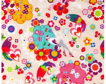 HALF YARD - Yucachin' Girl on Cream 8826-1A- Carnival Hair Girl, Bows, Parrot, Flowers, Fishnet - Cosmo Textiles Japanese Fabric