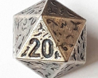 3D Button - 15 mm - 20 sided dice - Decahedron with Metal Shank on back - Colorway Silver - Made in Germany - Washable and Dry Cleanable