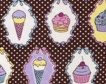 Sale HALF YARD Yuwa - Ice Cream Cones and Cupcakes on Brown - 812920 White Polka Dot, Cherry, Chocolate Sundae, Sprinkles - Imported Japanes