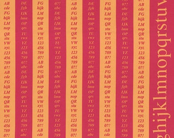 ONE PANEL - First of Infinity Collection - Pink and Orange Alphabet Columns - Numbers, Letters, Text - Lecien - Japanese Imported Fabric