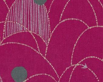 HALF YARD Kokka Echino by Etsuko Furuya - Spring in Fuchsia Pink and Natural  -97060-60A - 45 Cotton 55 Linen