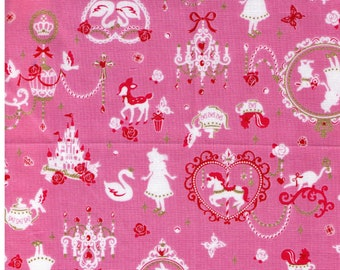 HALF YARD - Alice in Wonderland Pink, Gold and Pink silhouette - Rabbit, Cat, Skulls, Watch, Deer, Swan, Castle - Cosmo Textile Japanese