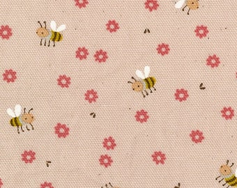 HALF YARD Kokka - Trefle Tiny Bumble Bees and Flowers on Light Pink - 56000-2C - Cotton Oxford - Japanese Imported