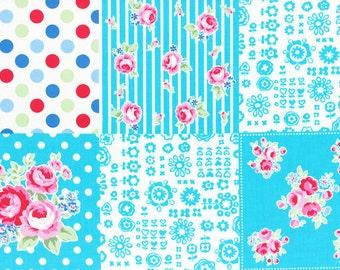 "End of Bolt - 10"" Cut - Flower Sugar Sweet Carnival - 31376-70 - Blue Cheater - Lecien - Japanese"
