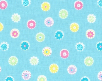 HALF YARD Lecien - Minny Muu Sky BLUE Flower Beads - 40673-70 - Blue, Teal, Green, Yellow Red Pink Daisies Polka Dots - Japanese Imported