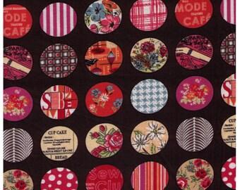 "End of Bolt - 72"" Cut - Yuwa - Mini Stitched Cheater Circle on Brown - Suzuko Koseki- Japanese Import Fabric - Reduced Print Size"