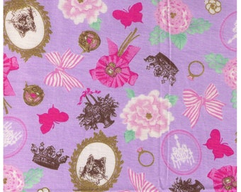 HALF YARD Cosmo Textile - Cats, Crowns and Roses on Purple - Gold Metallic - Bows, Lace, Royalty - Cotton Oxford - Japanese Import