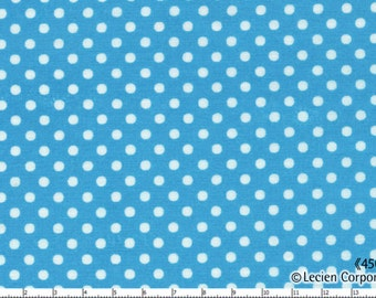 HALF YARD - Lecien - Color Basic - 4505-L  White Mini Dots on Blue - Japanese Import Fabric