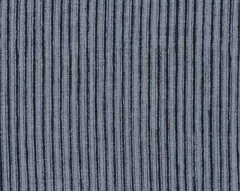 HALF YARD Kokka - Nani Iro - Camino - 100% Linen Sheeting - 10721-1A - Indigo Stripes - Japanese