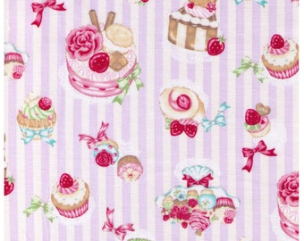 HALF YARD - Kawaii Sweets on White and Purple Stripes - Cakes, Rose, Strawberries, Dessert, Chocolate, Bow, Cosmo Textiles - Japanese Import