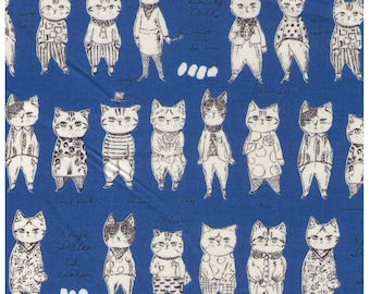 HALF YARD - Yuwa - Rough Sketch Cat Collection - Dressed Cats on Bright BLUE - Sobakasu-Kids - Quilting Cotton