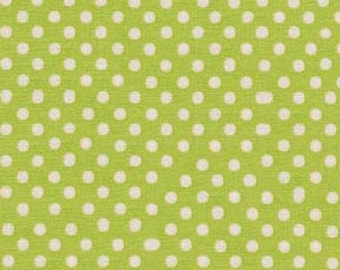 HALF YARD - Lecien - Color Basic - 4506-YG  White Medium Dots on Green - Japanese Import Fabric