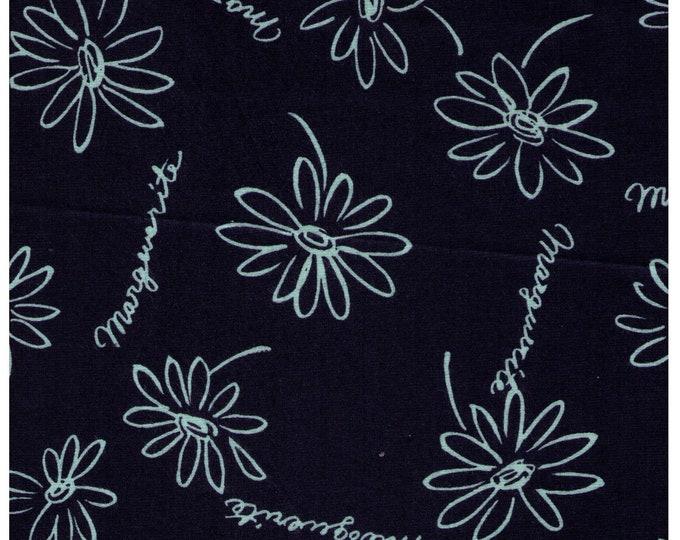 HALF YARD Yuwa - Sketched Daisies on NAVY - Suzuko Koseki SZ826435 F- Flower, Floral, Daisy  - Japanese Import Fabric