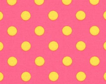 HALF YARD - Lecien - Color Basic - 4524-PY  Pink with Yellow Large Dots - Japanese Import Fabric