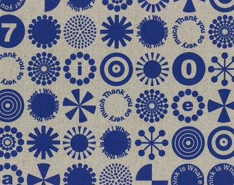 HALF YARD - First of Infinity Collection 31235-70 Thank You So Very Much - Blue on Linen - Cotton Linen Blend Geometric  Lecien Japanese