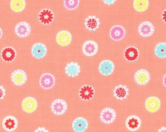 HALF YARD Lecien - Minny Muu PEACH Flower Beads -40673-40 - Blue, Teal, Green, Yellow, Red, Pink Daisies  Polka Dots - Japanese Imported