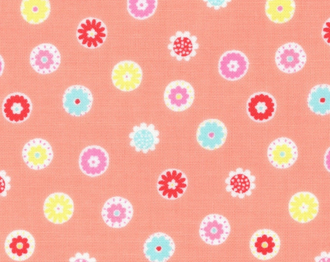 HALF YARD Lecien - Minny Muu PEACH Flower Beads - Spring 2016 - Blue, Teal, Green, Yellow, Red, Pink Daisies  Polka Dots - Japanese Imported