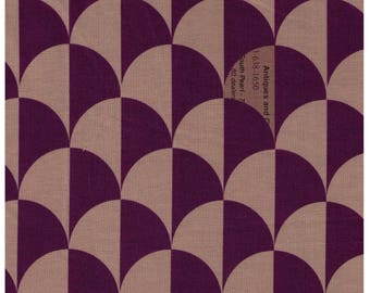 "End of Bolt - 22"" Cut - Yuwa - Scallop in Tan/Purple - Suzuko Koseki 826271-C  - Clamshell, Scale, Wave Pattern - Japanese Import Fabric"