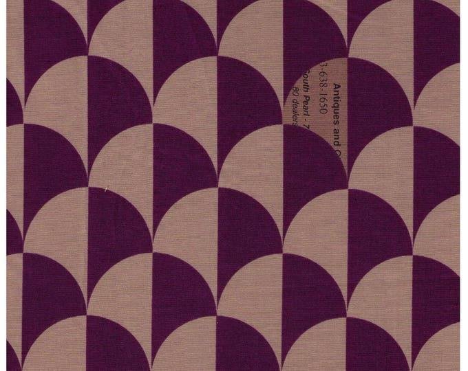 HALF YARD Yuwa - Scallop in Tan/Purple - Suzuko Koseki - Clamshell, Scale, Wave Pattern - Japanese Import Fabric