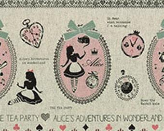 HALF YARD Lecien - Girl's Story 40697-10 - Alice in Wonderland Border Print - 80/20 Cotton Linen Blend - White Rabbit, Queen of Hearts Bows