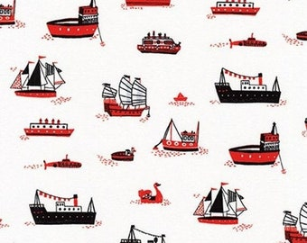 Sale HALF YARD Hello Lucky - Ships on White - By Hello!Lucky for Robert Kaufman - Eunice Moyle and Sabrina Moyle
