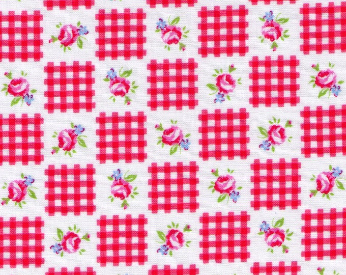 """Last Chance EOB - 40"""" Cut - Red Plaid Checkers 30844-30 - Flower Sugar Lecien, Bouquet, Blue, Green, Red, Pink, Yellow - Japanese"""