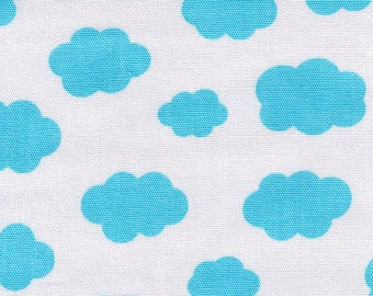 HALF YARD - Blue Sky Clouds on White 40299-70 - Lecien Color Basic - Japanese Import Fabric