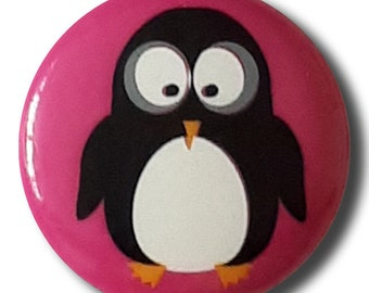 Penguin Button - PINK Colorway - 18mm Domed Button - Made in Germany - Washable and Dry Cleanable