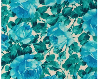 HALF YARD Yuwa - Photo Realistic Roses - Teal Green colorway - 824546-B - Cotton Quilting - Japan Import