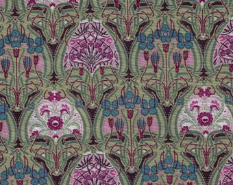 HALF YARD Yuwa - Pink, Green, Purple and Brown Small Interlocking Floral Medallion 319684 E - LAWN Art Nouveau Flower - Live Life Collection