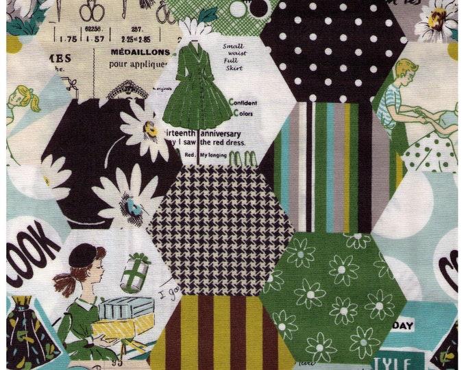 HALF YARD Yuwa - Hexagon Cheater Green and Turquoise - LARGE scale SZ826379 B - Suzuko Koseki - Paris Bonjour France Merci Modes Le Magazine
