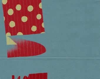HALF YARD Yuwa - Simple Quilt on Teal - Yoshiko Jinzenji - Low Volume Print - Japanese Import Fabric JZ152109-E