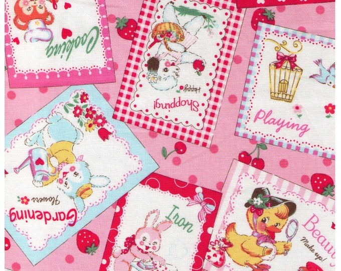 HALF YARD Yuwa - Little Animal Signs on Pink - Atsuko Matsuyama 30s collection 116565B - Shopping Play Study Cleaning Iron - Japanese Import