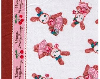 HALF YARD Kokka - Usaron Dreamy Bunny on Cream, balloons, lollipops  35500-502A - Japanese Imported Fabric