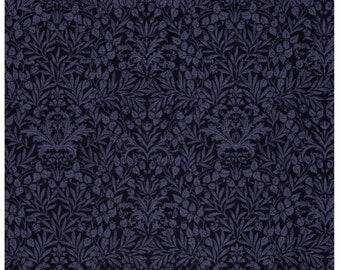 HALF YARD Lecien - Memoire a Paris - Damask Floral in Navy - 820817L-77 - Cotton Broadcloth - Floral, Flower, Botanical - Japanese