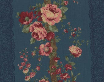 HALF YARD Lecien - Rose Life Garden 2017 by Kayo Enza - Rose Bouquets with Lace Stripes Dk Teal 31519-70 - Floral, Flower, Bouquet -Japanese