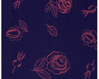 HALF YARD Yuwa - Fluorescent Orange Flowers and Roses on Dark Blue 826552-D - Cotton Shirting