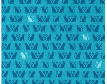HALF YARD Tiny Happy Lucky - Kitties in Rows - Blue and White on Aqua - Heart Tails - By Cynthia Frenette for Robert Kaufman