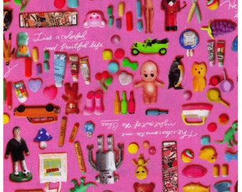 HALF YARD Photo Realistic Toys on Pink - Digitally Printed -  Kewpie Doll, Alien, Dino, Robot, Rubber Ducky, Mushroom - Cosmo Textile Japan