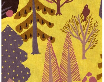 HALF YARD Lecien Fall Forest on Yellow 40930-50 - 85 Cotton 15 Linen Canvas - Dog, Owl, Pine, Tree, Leaf Japanese Import