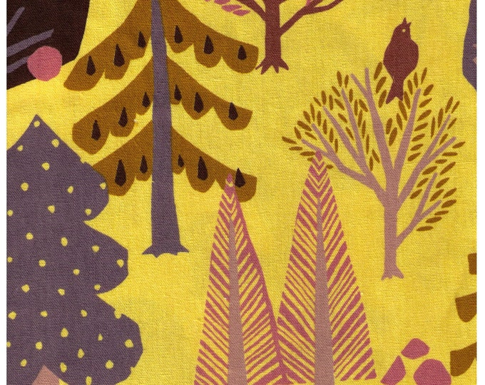 HALF YARD Lecien Fall Forest on Yellow - 85 Cotton 15 Linen Canvas - Dog, Owl, Pine, Tree, Leaf Japanese Import