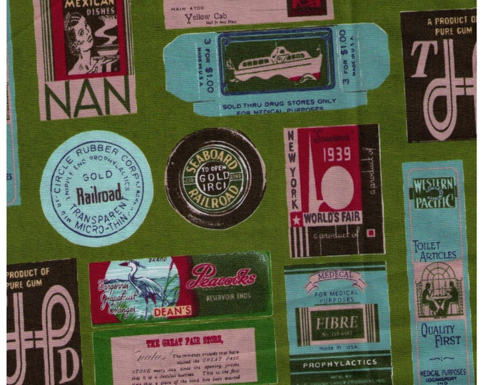 HALF YARD Yuwa - Travel Stamps on GREEN - Suzuko Koseki - Japanese Import - Tickets and Luggage Tags,  Paris Bonjour France 1950s Postage