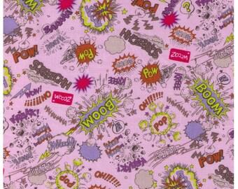 HALF YARD Kokka - Onomatopoeia - Pow! Boom! on Pink - Japanese Import