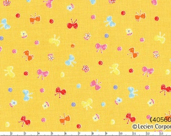 """End of Bolt - 15"""" Cut - Lecien - Minny Muu Butterflies on YELLOW 40560-50 - Bows, Circle Polka Dots, Flowers - Japanese Imported Fabric"""