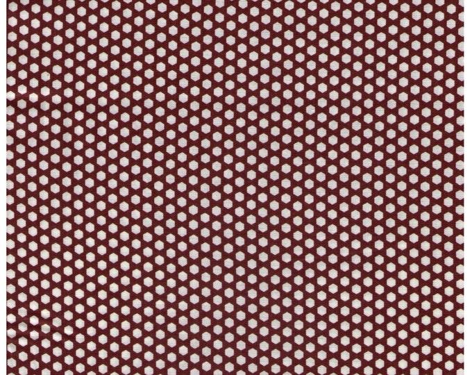 HALF YARD Yuwa - Mini Hexi Dots - White Hexagons on BROWN - Suzuko Koseki - Japanese - Tiny Hexies Honeycomb Multi color